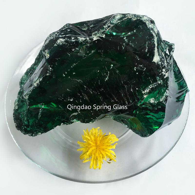 Dark green glass rocks