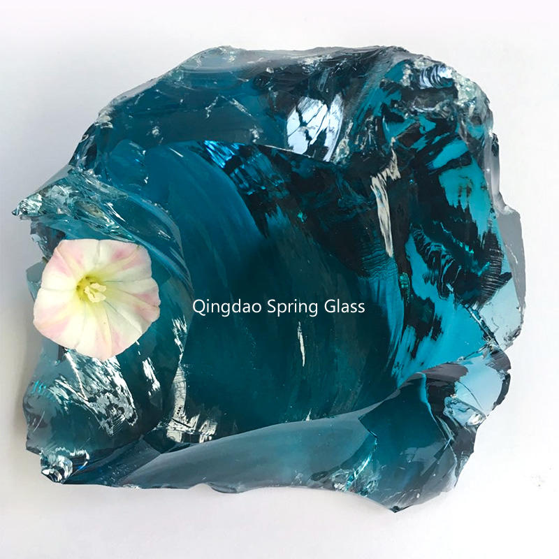 Sky blue glass rocks