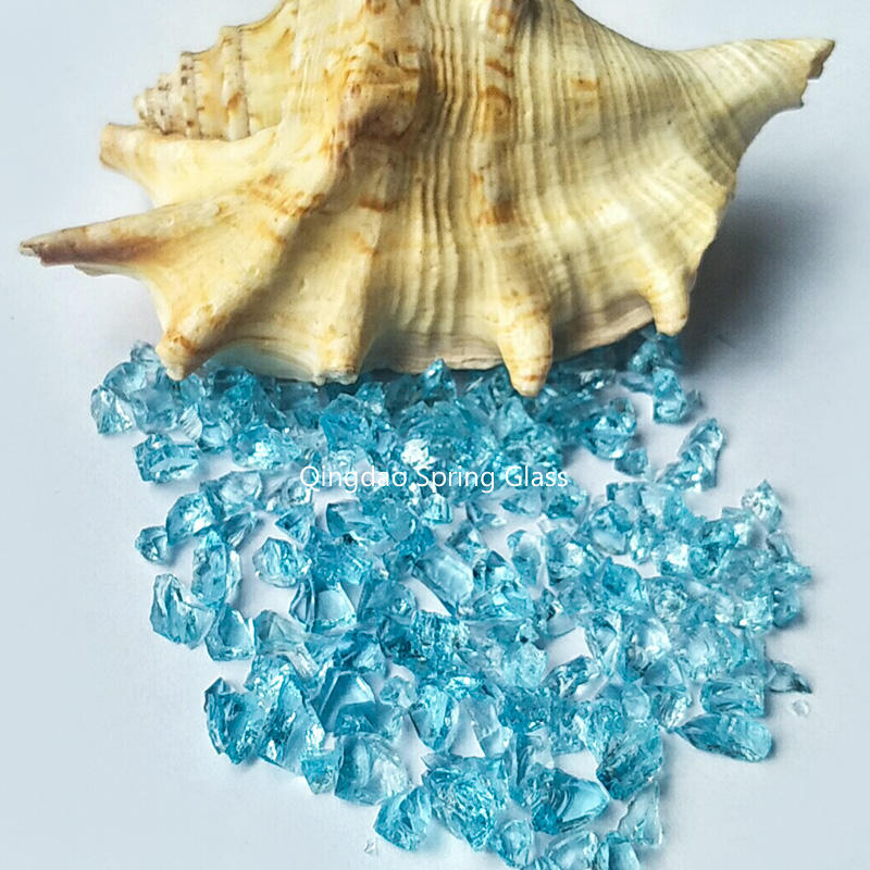 Sky blue decorative crushed glass