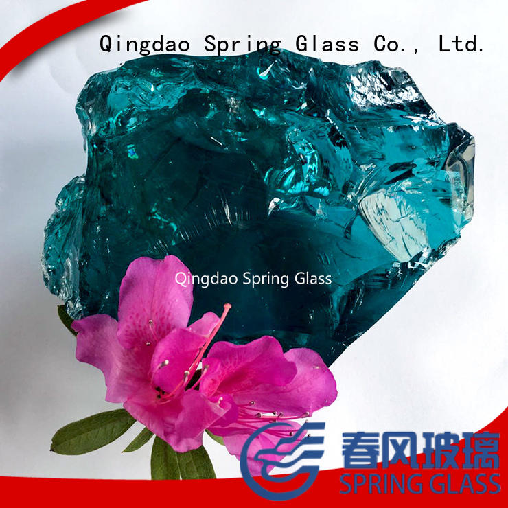 Spring Glass super white blue clear glass rocks for home