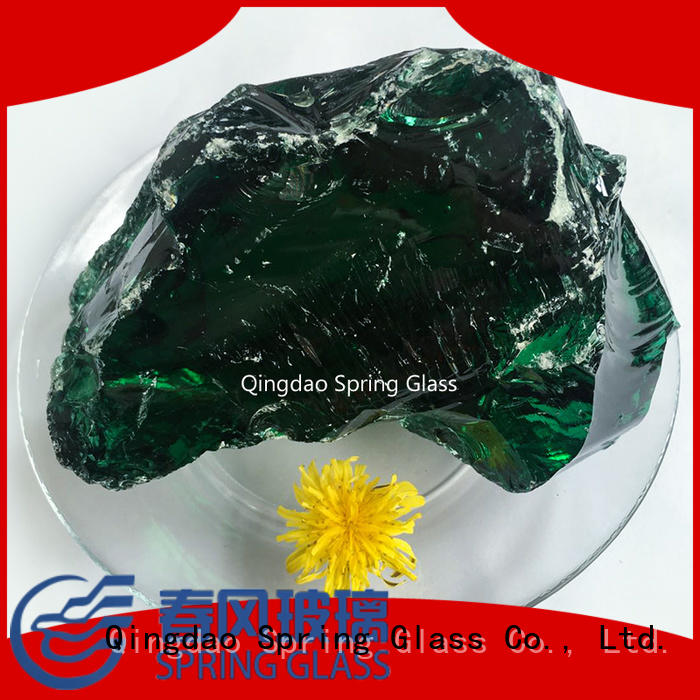 Spring Glass green fire glass rocks manufacturer for square