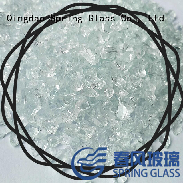 Spring Glass green decorative crushed glass factory for floor