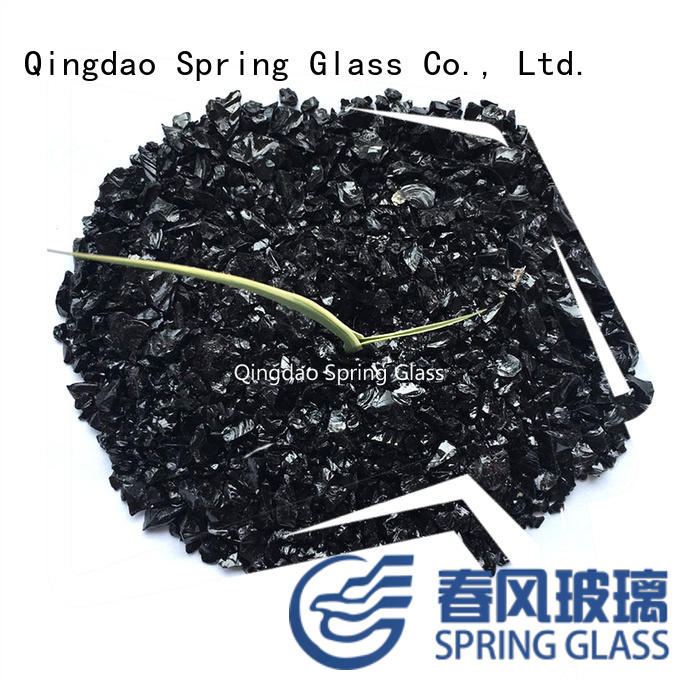 Spring Glass black coloured crushed glass custom for kitchen