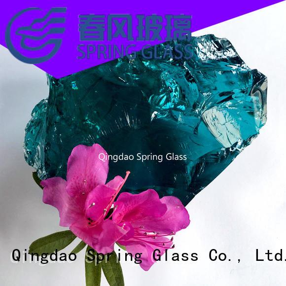 Spring Glass amber glass rocks hot sale for garden