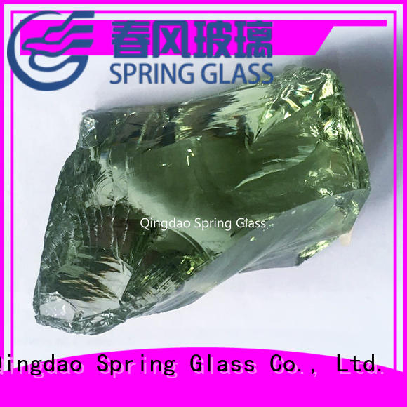 amber blue fire glass rocks supplier for square Spring Glass