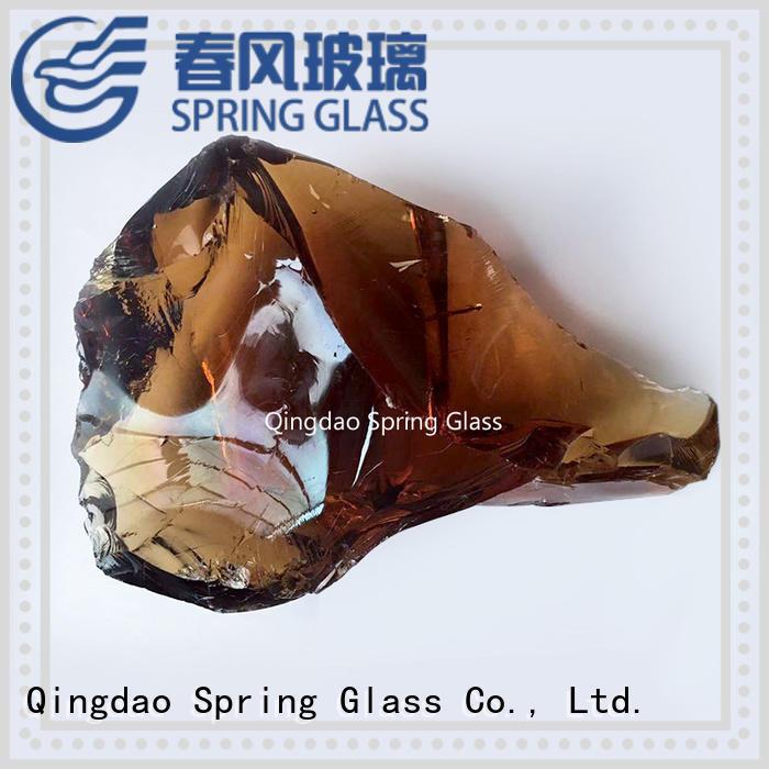 Spring Glass sky blue glass rocks factory for garden
