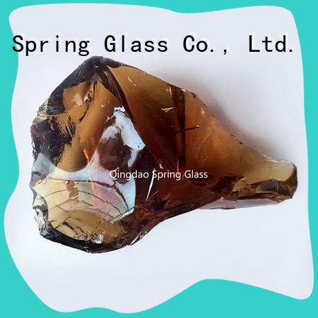 Spring Glass green fire glass rocks hot sale for decoration