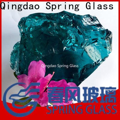 Spring Glass grey landscaping glass rocks supplier for square
