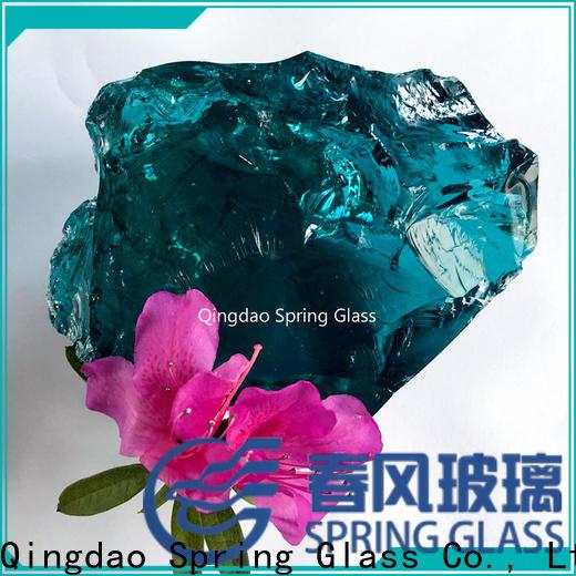 Spring Glass amber fire glass rocks manufacturer for decoration