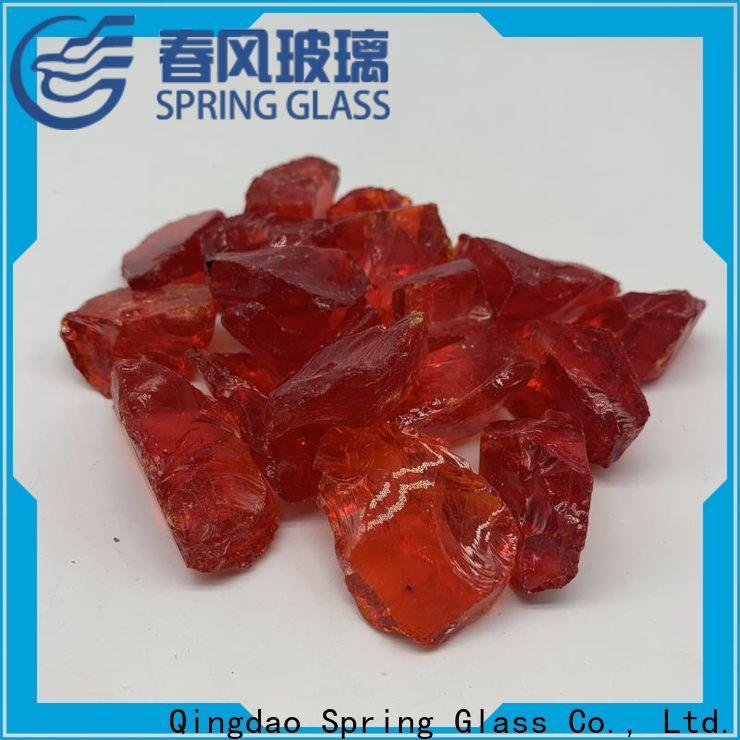 Spring Glass amber glass rocks manufacturer for decoration